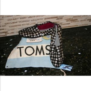 Toms Classic Womens Hand Drawn Dots Metallic Shoes